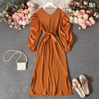 Dress Autumn 2020 Average size longuette singleton  Long sleeves commute V-neck High waist Solid color Socket A-line skirt routine Others 18-24 years old Type A Korean version Frenulum 30% and below other polyester fiber