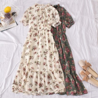 Dress Summer 2020 White, red, pink, green, black Average size longuette singleton  Short sleeve commute stand collar High waist Broken flowers Socket A-line skirt pagoda sleeve camisole 18-24 years old Type A Korean version Bows, folds, prints Yang yan-1332 stand Collar Chiffon Dress with bandage