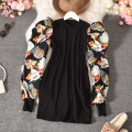 Dress Autumn 2020 White, black Average size longuette singleton  Long sleeves commute Crew neck High waist Decor Socket A-line skirt routine Others 18-24 years old Type H Korean version printing Misgurnus anguillicaudatus-1144 medium and long pure color with big flower 30% and below other