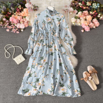 Dress Autumn 2020 Average size longuette singleton  Long sleeves commute stand collar High waist Decor Socket A-line skirt pagoda sleeve Others 18-24 years old Type A Korean version printing 30% and below Chiffon polyester fiber
