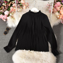 Lace / Chiffon Autumn 2020 White, black Average size Long sleeves commute Socket singleton  Straight cylinder Regular stand collar Solid color routine 18-24 years old Taotao-9196-1 pure color 100 fold shirt with buckle Button Korean version 30% and below polyester fiber