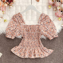 shirt Pink, apricot, grey, black Average size Summer 2021 polyester fiber 30% and below Short sleeve commute Regular square neck Socket puff sleeve Broken flowers 18-24 years old Straight cylinder Korean version Haohao-1803 Floral Lace short sleeve printing blending