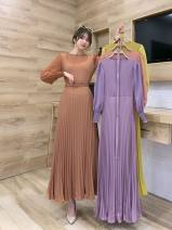 Dress Spring 2021 Black, yellow, purple, green, skin pink, jujube, khaki Average size longuette singleton  Long sleeves commute Crew neck High waist Solid color Socket Pleated skirt routine Others 25-29 years old Type A lady fold Yiyi-8736 pure color Chiffon sleeve splicing skirt 30% and below
