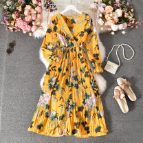 Dress Summer 2020 Average size longuette singleton  Long sleeves commute V-neck High waist Decor Socket A-line skirt pagoda sleeve Others 18-24 years old Type A Korean version Fold, print 30% and below other polyester fiber