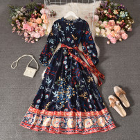 Dress Summer 2020 White, dark blue Average size longuette singleton  Long sleeves commute stand collar middle-waisted Decor Socket A-line skirt routine Others 25-29 years old Type A Korean version printing 30% and below Chiffon polyester fiber