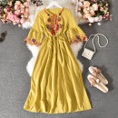 Dress Summer 2020 White, yellow Average size longuette singleton  three quarter sleeve commute V-neck High waist Decor Socket A-line skirt pagoda sleeve Others 18-24 years old Type A Korean version Fold, print Kt-809 embroidery clear color short sleeve dress 30% and below other polyester fiber