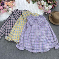 shirt Light purple, yellow, black Average size Autumn 2021 other 30% and below Long sleeves commute Medium length Doll Collar Single row multi button routine lattice 18-24 years old Straight cylinder Korean version Shuang-9802 baby collar Plaid Long Sleeve Shirt Button, pocket, print, fold
