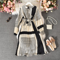 Dress Autumn 2020 Decor Average size longuette singleton  Long sleeves commute stand collar High waist Decor Socket A-line skirt routine Others 18-24 years old Type A Korean version Fold, print Huizai-6860 apricot bottom black stripe Pullover dress 30% and below other polyester fiber