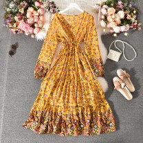 Dress Summer 2020 White, red, dark blue, yellow Average size longuette singleton  Long sleeves commute V-neck High waist Decor Socket A-line skirt routine Others 18-24 years old Type A Korean version Fold, print Qin'er-0919 national style long sleeves 30% and below other polyester fiber