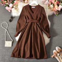 Dress Autumn 2020 Apricot, khaki, black Average size longuette singleton  Long sleeves commute V-neck High waist Solid color Socket A-line skirt routine Others 18-24 years old Type A Korean version Frenulum Weiyiting-8039 sweater color matching dress 30% and below other polyester fiber