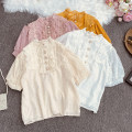 shirt White, apricot, yellow, pink Average size Summer 2021 polyester fiber 30% and below elbow sleeve commute Short style (40cm < length ≤ 50cm) stand collar Single row multi button pagoda sleeve Solid color 18-24 years old Straight cylinder Korean version Lele-12021 with lace and short sleeves