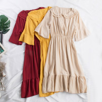 Dress Summer of 2019 Red, apricot, yellow Average size Mid length dress singleton  Short sleeve commute Double collar High waist Solid color Socket A-line skirt pagoda sleeve Others 18-24 years old Type A Korean version Ruffles, folds, swallow tails 31% (inclusive) - 50% (inclusive) other other