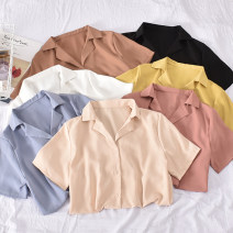 shirt White, black, apricot, khaki, yellow, blue, leather powder, dark apricot, medium red, light green Average size Summer 2020 polyester fiber 30% and below Short sleeve commute Regular tailored collar Single row multi button routine Solid color 18-24 years old Straight cylinder Korean version