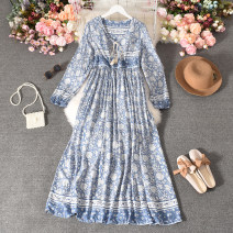 Dress Autumn 2020 Light blue, red, pink, white, dark blue, yellow small pieces, yellow big flowers Average size longuette singleton  Long sleeves commute Crew neck High waist Decor Socket A-line skirt puff sleeve Others 18-24 years old Type A Korean version printing 30% and below other
