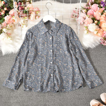 shirt Average size Autumn 2020 cotton 30% and below Long sleeves commute Regular Polo collar Single row multi button routine Broken flowers 18-24 years old Straight cylinder Korean version Xiaoyuanzi-536 small floral Long Sleeve Shirt Button blending