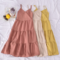 Dress Summer 2020 Average size Mid length dress singleton  Sleeveless commute V-neck High waist Solid color Socket A-line skirt routine camisole 18-24 years old Type A Korean version 30% and below other polyester fiber