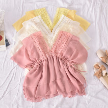 Lace / Chiffon Summer 2020 White, apricot, pink, yellow Average size Long sleeves commute Socket singleton  Straight cylinder Regular V-neck Solid color routine 18-24 years old Aoni-2042v Collar Chiffon Korean version 30% and below polyester fiber
