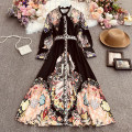 Dress Spring 2021 Black, blue Average size longuette singleton  Long sleeves commute Polo collar High waist Decor Socket A-line skirt routine Others 18-24 years old Type A lady printing Huizai-6063 long Lapel with belt and long sleeve dress 30% and below Chiffon polyester fiber