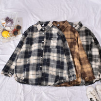 shirt Blue, black and white, coffee Average size Spring 2020 polyester fiber 30% and below Long sleeves commute Regular Polo collar Single row multi button routine lattice 18-24 years old Straight cylinder Korean version Aromatherapy-629-1 Plaid Shirt printing blending