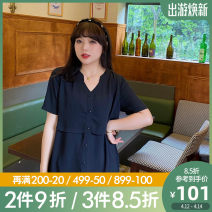 Women's large Summer 2021 Black, black pre-sale Large L, large XL, 2XL, 3XL, 4XL, 5XL shirt singleton  Sweet easy thin Cardigan Short sleeve Solid color stand collar Medium length polyester Three dimensional cutting routine A0869 Caidoble / caidoble · CAI 25-29 years old Button 96% and above