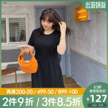 Women's large Summer 2021 Black, black pre-sale Large L, large XL, 2XL, 3XL, 4XL, 5XL Dress singleton  commute Self cultivation moderate Conjoined Short sleeve Solid color Korean version Crew neck Nylon, others Three dimensional cutting routine Caidoble / caidoble · CAI 25-29 years old Middle-skirt