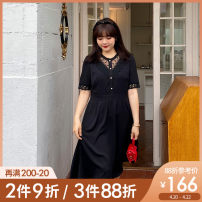 Women's large Summer 2021 Black, black pre-sale Large L, large XL, 2XL, 3XL, 4XL, 5XL Dress singleton  commute Self cultivation thin Conjoined Short sleeve Broken flowers Korean version Crew neck polyester Three dimensional cutting puff sleeve Caidoble / caidoble · CAI 25-29 years old Lace stitching