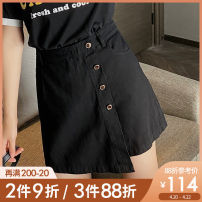 Women's large Summer 2021 violet , black , Purple pre sale , Black pre sale Large L, large XL, 2XL, 3XL, 4XL, 5XL skirt singleton  commute easy thick Solid color Korean version cotton Three dimensional cutting K0300 Caidoble / caidoble · CAI 25-29 years old Button 96% and above shorts