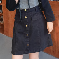 Women's large Spring 2021 Black, yellow, gray, black pre-sale, yellow pre-sale, gray pre-sale Large L, large XL, 2XL, 3XL, 4XL, 5XL skirt singleton  commute easy moderate Solid color Korean version cotton Three dimensional cutting BQ0206 Caidoble / caidoble · CAI 25-29 years old pocket 96% and above