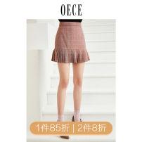 skirt Winter of 2018 XS,S,M,L Red grey Short skirt commute High waist Pleated skirt lattice 25-29 years old 184KS105 Oece lady