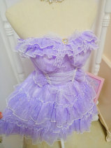 Dress Autumn of 2019 violet Average pre-sale 10 days delivery, average long sleeve pre-sale 15 days delivery, average spot Short skirt singleton  Sleeveless Sweet middle-waisted Solid color Socket Princess Dress Breast wrapping Type A Bow, ruffle, fungus, lace 1909-014 princess
