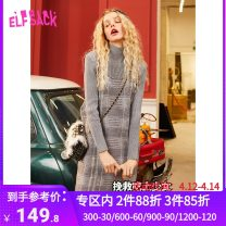 Dress Winter of 2019 Forest black, little gray cat M Middle-skirt Two piece set Long sleeves High collar middle-waisted Socket A-line skirt routine 18-24 years old Type A Goblin's pocket 31% (inclusive) - 50% (inclusive) acrylic fibres