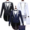 Suit other Others Blue, black, white S,M,L,XL,XXL,XXXL routine Baling collar Back middle slit Four seasons Super slim Triple single breasted wedding Splicing