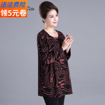 Middle aged and old women's wear Autumn of 2019 Gold and black leisure time T-shirt easy singleton  Big flower 50-59 years old Socket thick Crew neck routine routine Fischer pocket Polyester, others Long sleeves