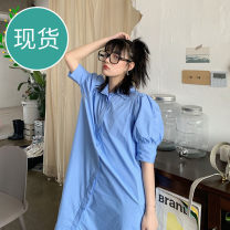Dress Summer 2020 Light blue [spot], dirty orange [spot], light blue [pre-sale], dirty orange [pre-sale] XS,S,M,L Mid length dress singleton  Short sleeve street Polo collar Solid color other More than 95% cotton Europe and America