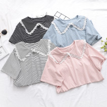 T-shirt Average size Summer 2021 Short sleeve Doll Collar Straight cylinder Regular routine Sweet cotton 31% (inclusive) - 50% (inclusive) 25-29 years old Printing, splicing college