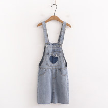Dress Summer 2021 Blue (love), blue (hole) S,M,L,XL Middle-skirt singleton  Sleeveless Sweet High waist Solid color Socket A-line skirt straps 25-29 years old Type A 51% (inclusive) - 70% (inclusive) cotton college