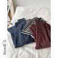 T-shirt White, red, blue Average size Autumn 2020 Long sleeves Crew neck Straight cylinder Regular routine commute other 96% and above Korean version youth Thin horizontal stripe
