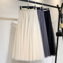 skirt Spring 2021 Average size Apricot, grey, black, coffee Mid length dress Versatile A-line skirt Solid color Type A 25-29 years old other