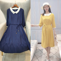 Dress Spring 2021 Yellow, blue 2XL Mid length dress singleton  Long sleeves Sweet Doll Collar middle-waisted Solid color Single breasted A-line skirt routine 30-34 years old Type A Button 51% (inclusive) - 70% (inclusive) Chiffon polyester fiber