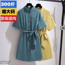 Women's large Summer 2021 Yellow, blue 6xl (250-300 kg recommended), 5XL (220-260 kg recommended), 4XL (190-220 kg recommended), 3XL (160-190 kg recommended), 2XL (130-160 kg recommended) Dress commute easy thin Solid color other Polyester, others 25-29 years old Button other