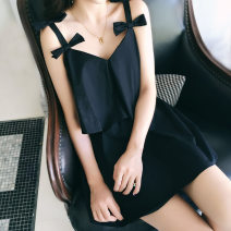 one piece  customized M,L,XL,XXL,XXXL Black (conjoined) , Black (split toilet version) Skirt one piece With chest pad without steel support Nylon, spandex, polyester, others female Sleeveless