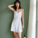 Nightdress Other / other White, Burgundy, Navy, champagne, meat powder M,L,XL sexy camisole pajamas Short skirt summer Solid color youth V-neck Polyester (polyester) 81% (inclusive) - 95% (inclusive) DU215