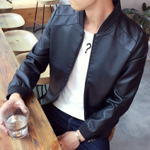 leather clothing Happy time Youth fashion Black, khaki, coffee, blue M. L, XL, 2XL, 3XL, 4XL (175-190 Jin), collect baby priority delivery routine Imitation leather clothes stand collar Slim fit zipper autumn leisure time youth tide JWSSB819 Rib hem Side seam pocket Zipper decoration