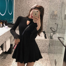 Dress Autumn of 2019 Black, pink, scarlet Average size Short skirt singleton  Long sleeves commute Crew neck Elastic waist Solid color Socket A-line skirt other Others 18-24 years old Type A Other / other Korean version Hollow out, splicing, thread, design sense 51% (inclusive) - 70% (inclusive)