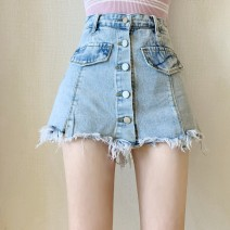 skirt Summer 2021 S,M,L,XL blue Short skirt Versatile High waist A-line skirt Solid color Type A 25-29 years old 71% (inclusive) - 80% (inclusive) Denim Other / other other Old, button