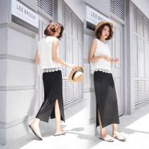 skirt Spring 2021 S,M,L,XL,2XL,3XL Black, dark grey, light grey Mid length dress commute High waist Little black dress Solid color Type H 18-24 years old 91% (inclusive) - 95% (inclusive) brocade Verdi modal  Splicing Korean version 201g / m ^ 2 (including) - 250G / m ^ 2 (including)