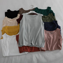 Vest sling Summer 2020 White, black, orange, pink, apricot, yellow, army green, navy blue, coffee, grass green, bean green, cow blue, jujube Average size singleton  routine Straight cylinder commute Solid color 18-24 years old hemp