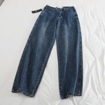 Jeans Autumn of 2019 navy blue XL,L,M,S trousers High waist Wide legged trousers routine washing Thin denim Dark color