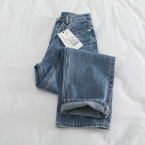 Jeans Autumn of 2019 wathet S,M,L,XL trousers High waist Straight pants routine Cotton denim light colour