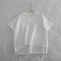 T-shirt White, blue S,M,L Summer 2020 Short sleeve V-neck easy Regular raglan sleeve commute hemp 71% (inclusive) - 85% (inclusive) 18-24 years old Korean version literature Three dimensional decoration